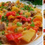 Нежное жаркое из говядины с овощами